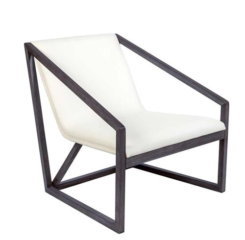 Capua Lounge Chair In White Leatherette With Walnut Frame At Modern Home 2 Go Furniture Miami And Fort Lauderdale