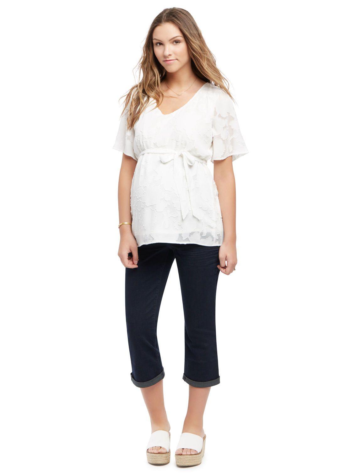 13a57f9f97068 Motherhood Maternity Indigo Blue Secret Fit Belly Maternity Crop Jeans