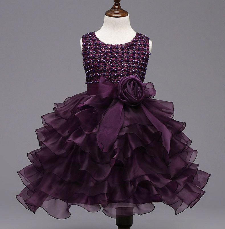 Click To Buy Bling Girls Wedding Birthday Party Dress Shining Beads Organza Layered Dresses P Girls Dresses Wedding Dresses For Girls Little Girl Dresses