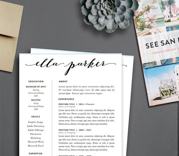 Resume Template Made To Order Header Instant Download For - free creative word resume templates
