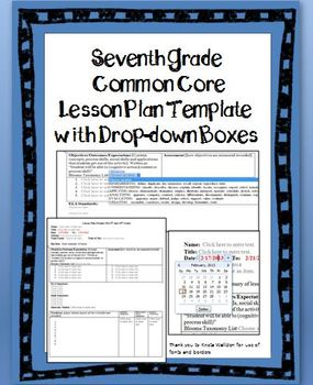 7th grade common core lesson plan template with drop down boxes my