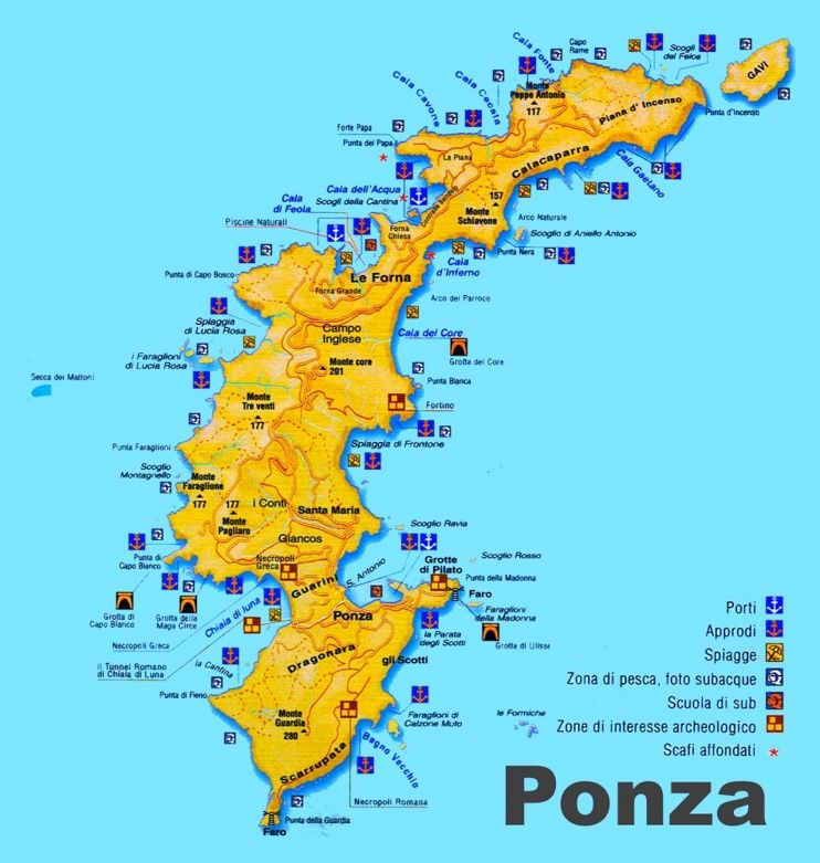 Ponza sightseeing map Maps Pinterest Italy