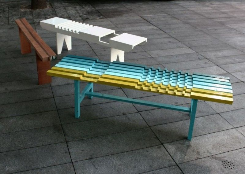 The PlaidBench Collection with wood benches design - design ideas and pictures on Interior Design and Decoration Ideas