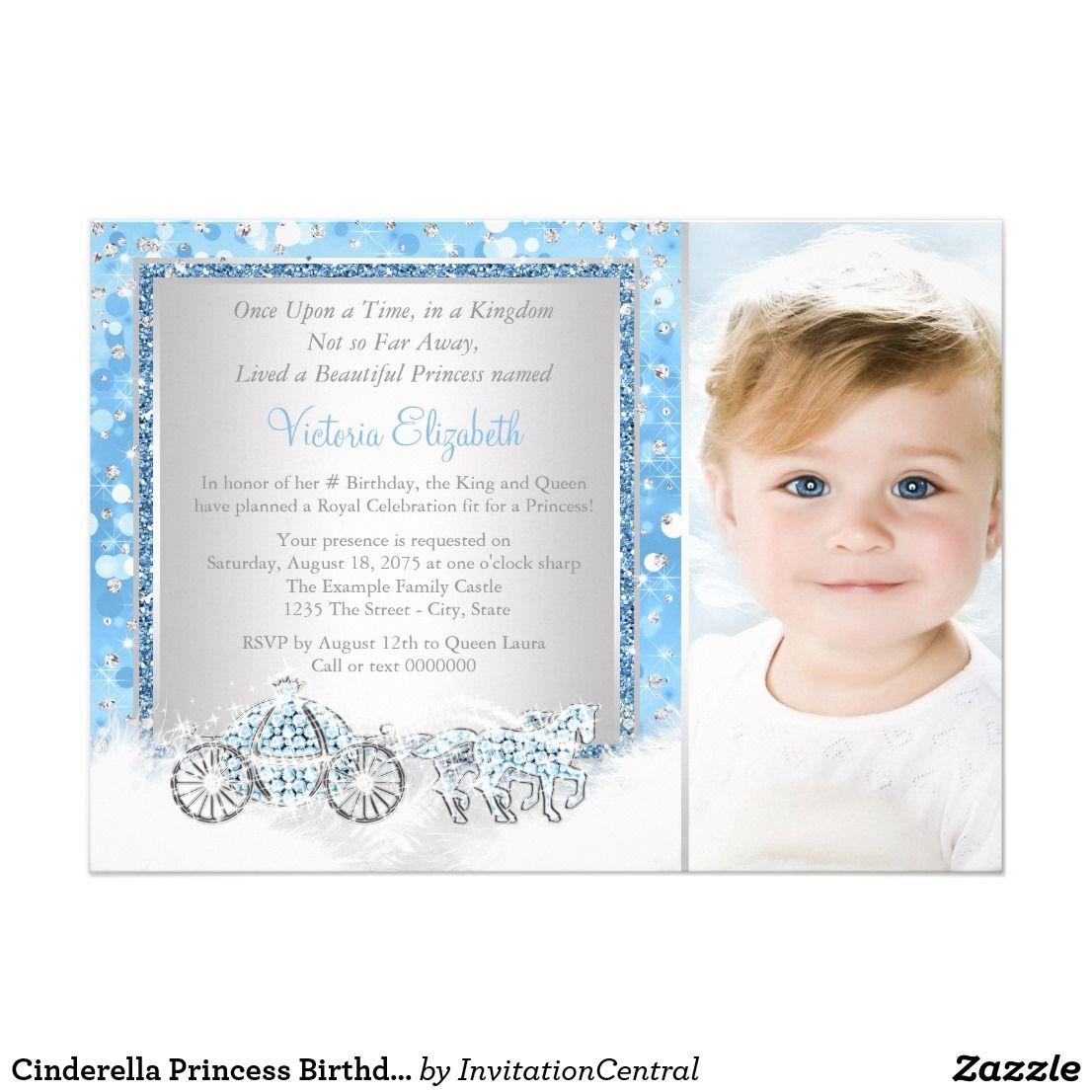 Cinderella Princess Birthday Party Card   Cinderella princess ...