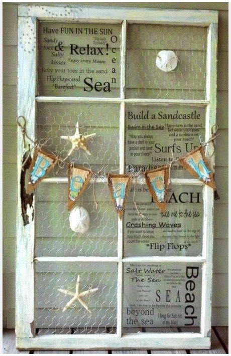 I\u0027ve seen lots of decor ideas for old window frames lately. They make such great wall decor! & Pin by Lisa McKee-Uyema on Art | Pinterest | Door crafts Beach ...