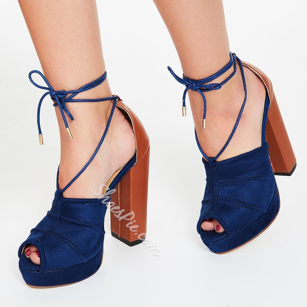 Color Block Chunky Heel Platform Sandals | Platform Sandals