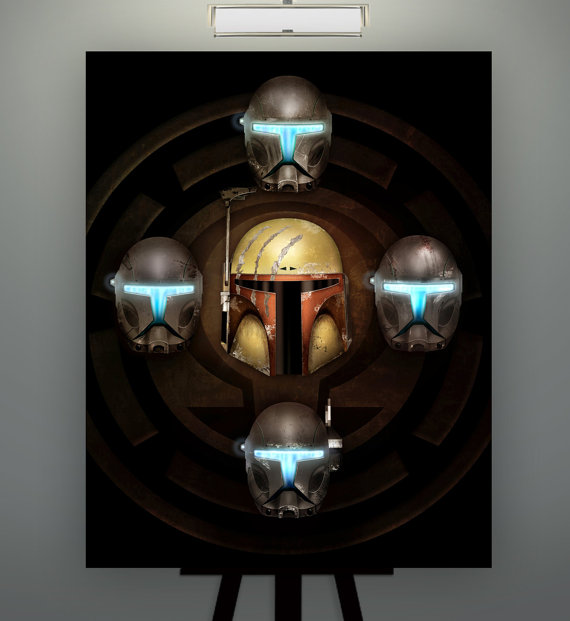 "Star Wars Inspired  ""Buir of Omega"" Kal Skirata Omega Squad 11X14 Fine Art Print Poster Herofied Helmet Study Portrait Republic Commandos"