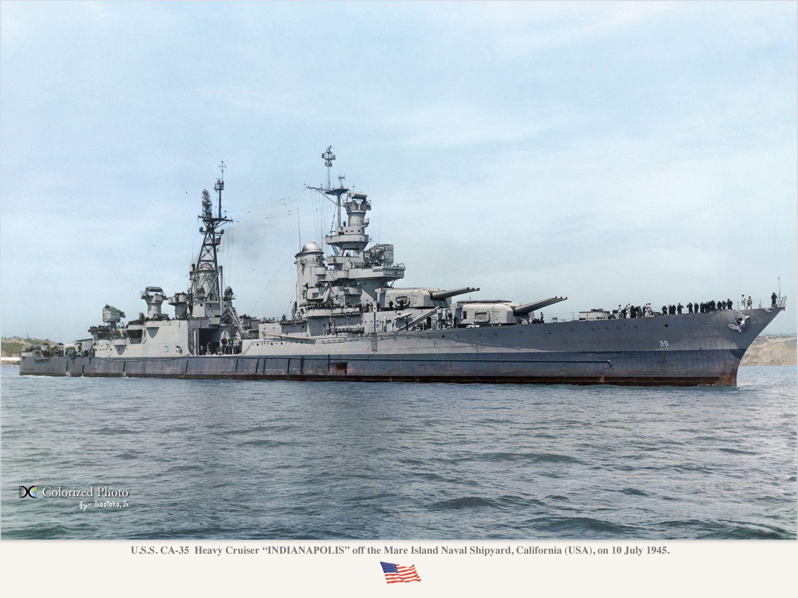 Portland Class Heavy Cruiser Uss Indianapolis Ca 35 Off Mare Island Naval Shipyard Ca On July 10 1945 20 Days B In 2020 Uss Indianapolis Heavy Cruiser Battleship