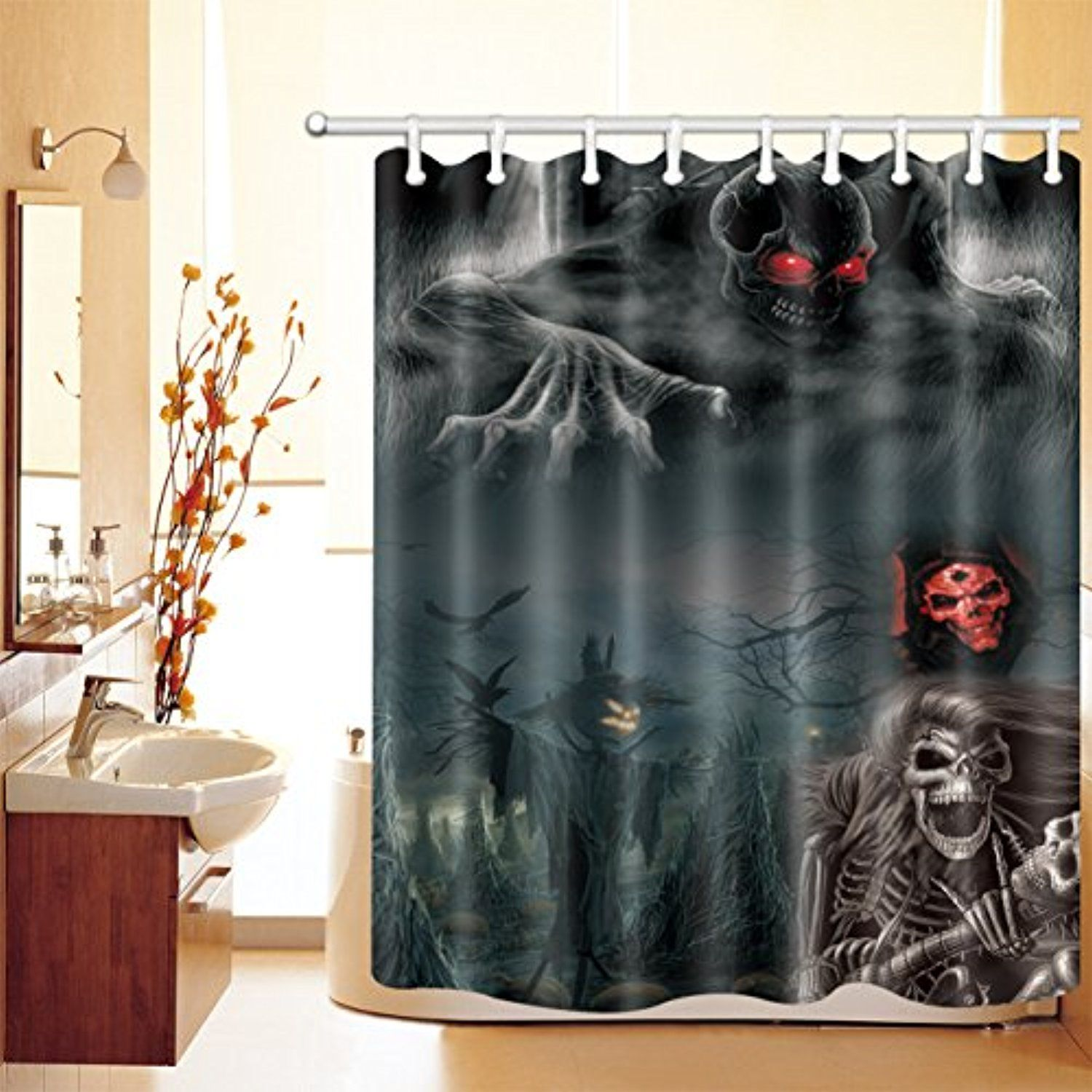 Decorations Shower Curtain Set By Lb Halloween Ghost Spirit With