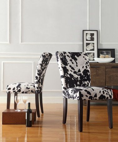 Black White Cow Parson Side Chair Set Of Two Zulily