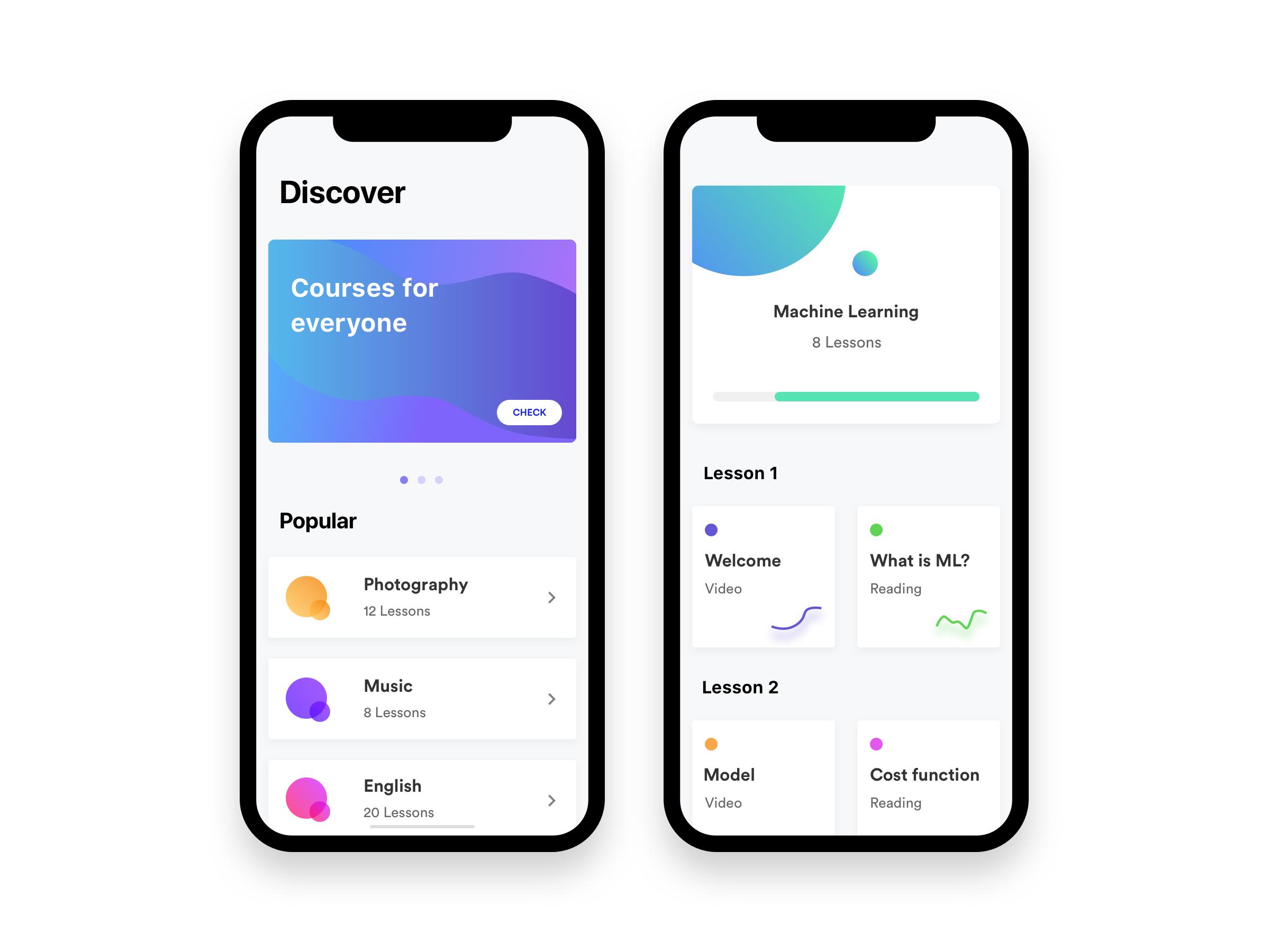 Courses black white iphone x 3x | iOS11 | Mobile app design, App ui