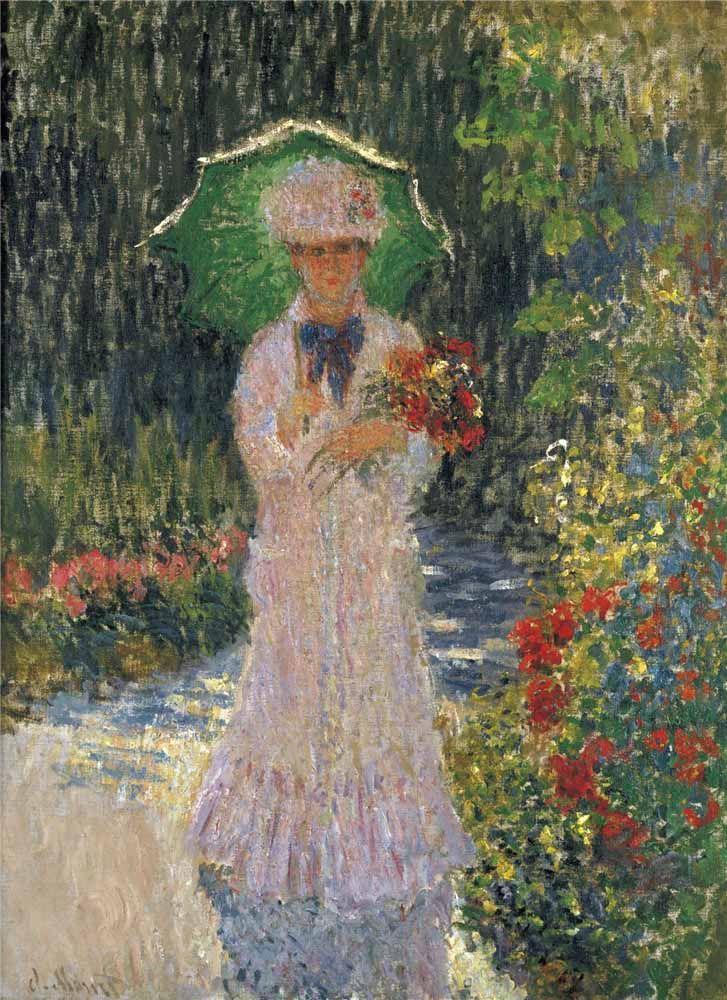 Camille With Green Umbrella 1876 By Claude Monet Mit Bildern Malerei At Least