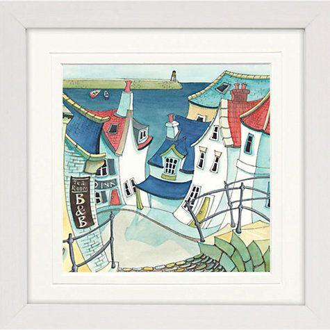 buy catherine stephenson coastal town 1 framed print 65 x 65cm online at johnlewis