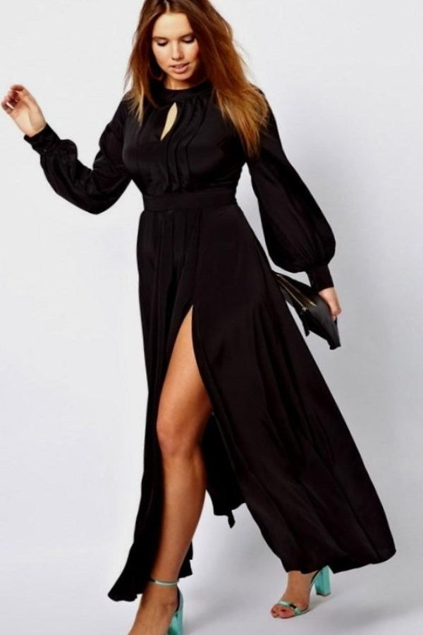 Black Lace Dress Plus Size Women Clothing Sheer Long Sleeve Floor