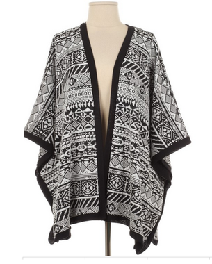 Black and White Aztec Multiprint Loose Fit Cardigan Top - The Rustic Shop