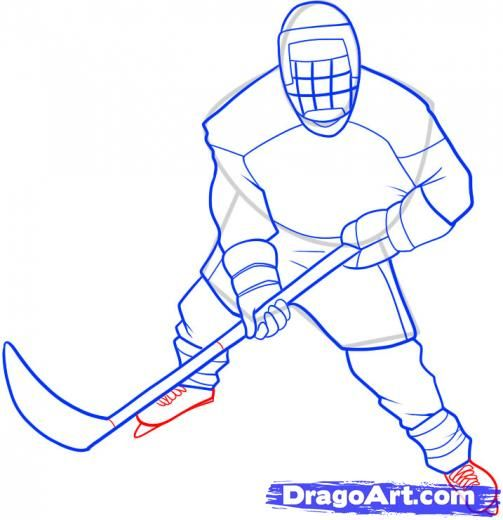 Step 8 How To Draw A Hockey Player Hockey Drawing Step By Step Drawing Hockey Players