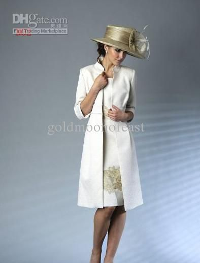 New Ivory Satin With Gold Lace Knee Length Mother Of The Bride Dresses And Jacket Bolero