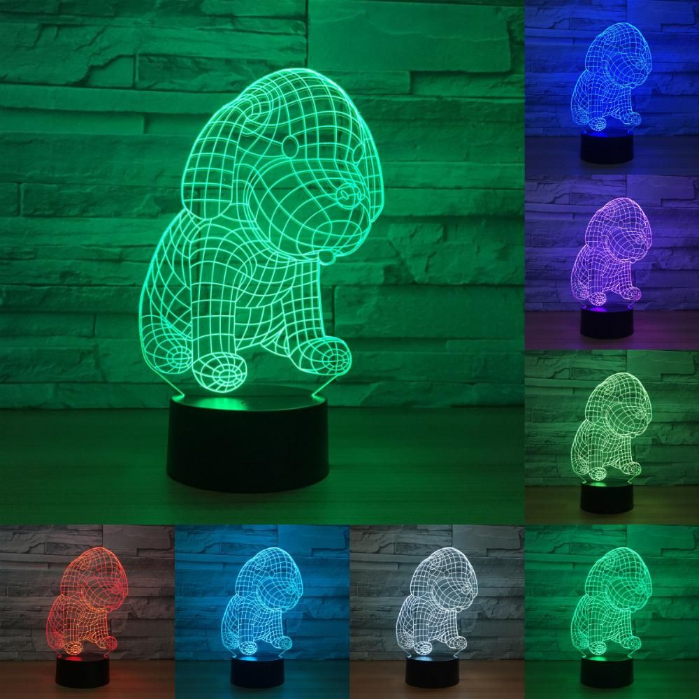 Cute Dog 7 Color Lamp 3d Led Night Lights For Kids Touch Usb Table Light Lampe Baby Sleeping Nightlight Iy803174 3d Led Night Light Led Night Light Night Light