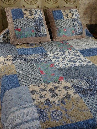 couvre lit boutis et rideaux assortis Couvre lit patchwork   Dessus de lit, boutis, plaid et rideaux  couvre lit boutis et rideaux assortis