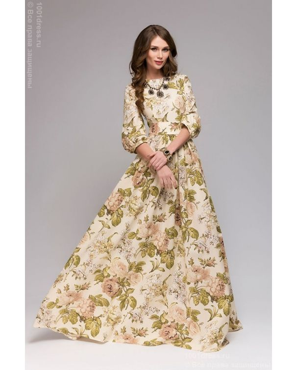 250ceb881e4 Купить ванильное платье в пол с крупным цветочным принтом и рукавами 3 4 в  интернет-магазине 1001 DRESS