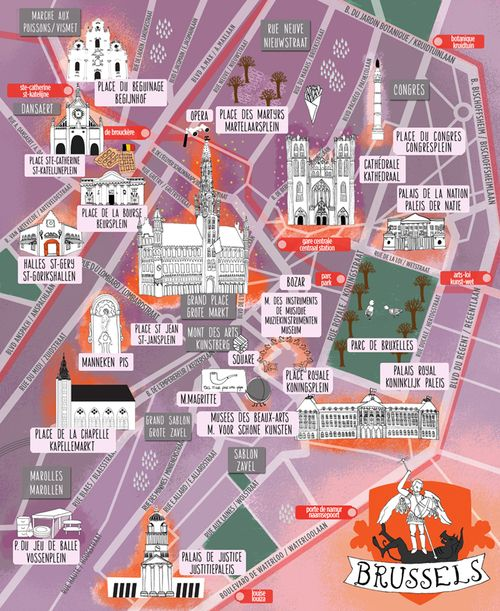 Illustrated Cities By Maria Brussels City Map Brussel Belgium