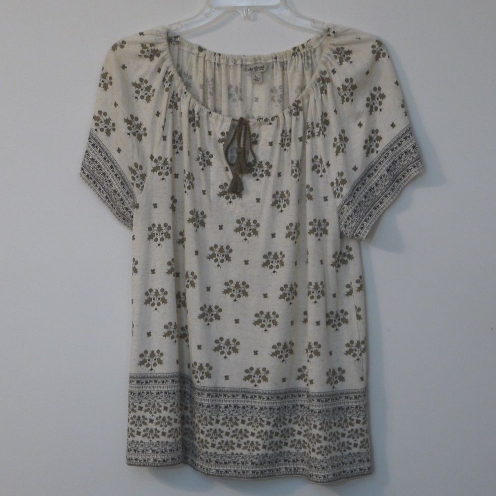 f01fd6e1329a5 Lucky Brand Womens Top Large Multicolor Geometric Tie Neck Cap Sleeve   LuckyBrand  PulloverTop