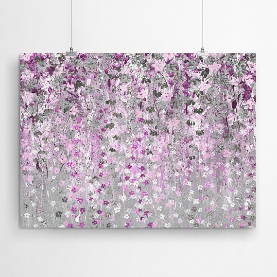 Pink Painting Wall Art Decor And Silver Print Silve