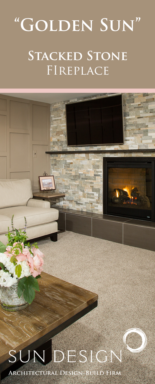 Two Unneeded Bedrooms Opened Up To Create A Stunning Tv Room With A Wrapping Stacked Stone Fireplace And Millwork Accente Basement Design Design Remodel Design