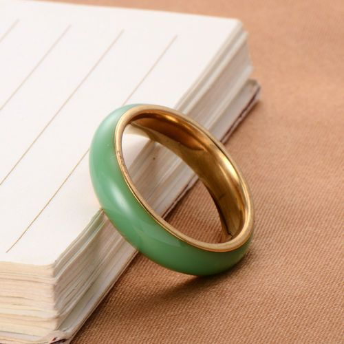 Womens Jewelry 14k Gold Filled Thin Band Natural Jade Ring Vintage