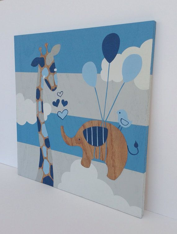 Hand Painted Elephant And Giraffe Nursery Art By Sweetbananasart