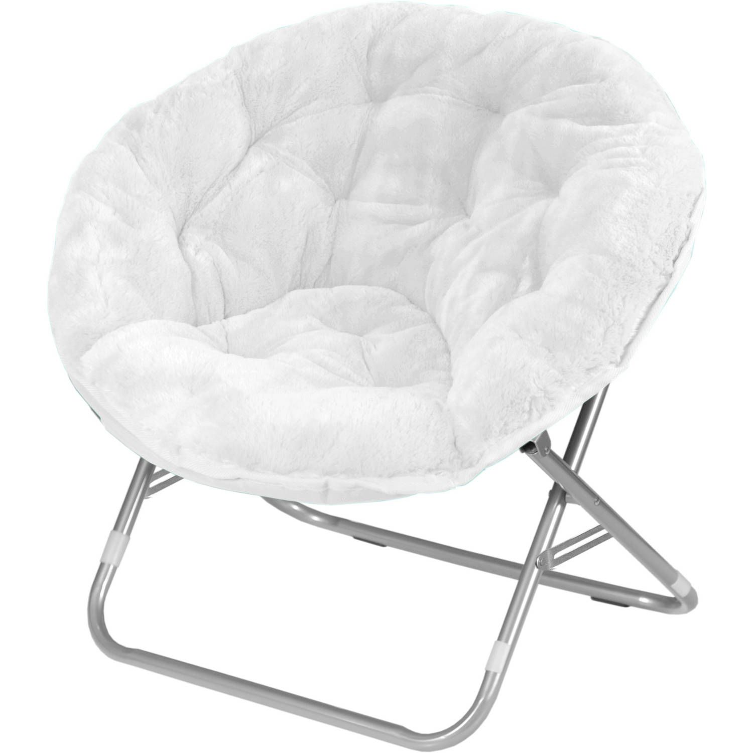 Buy Mainstays Adult Faux Fur Saucer Chair, White At Walmart.com