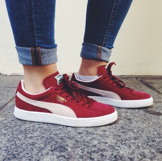 Puma suede, Red puma shoes, Sneakers