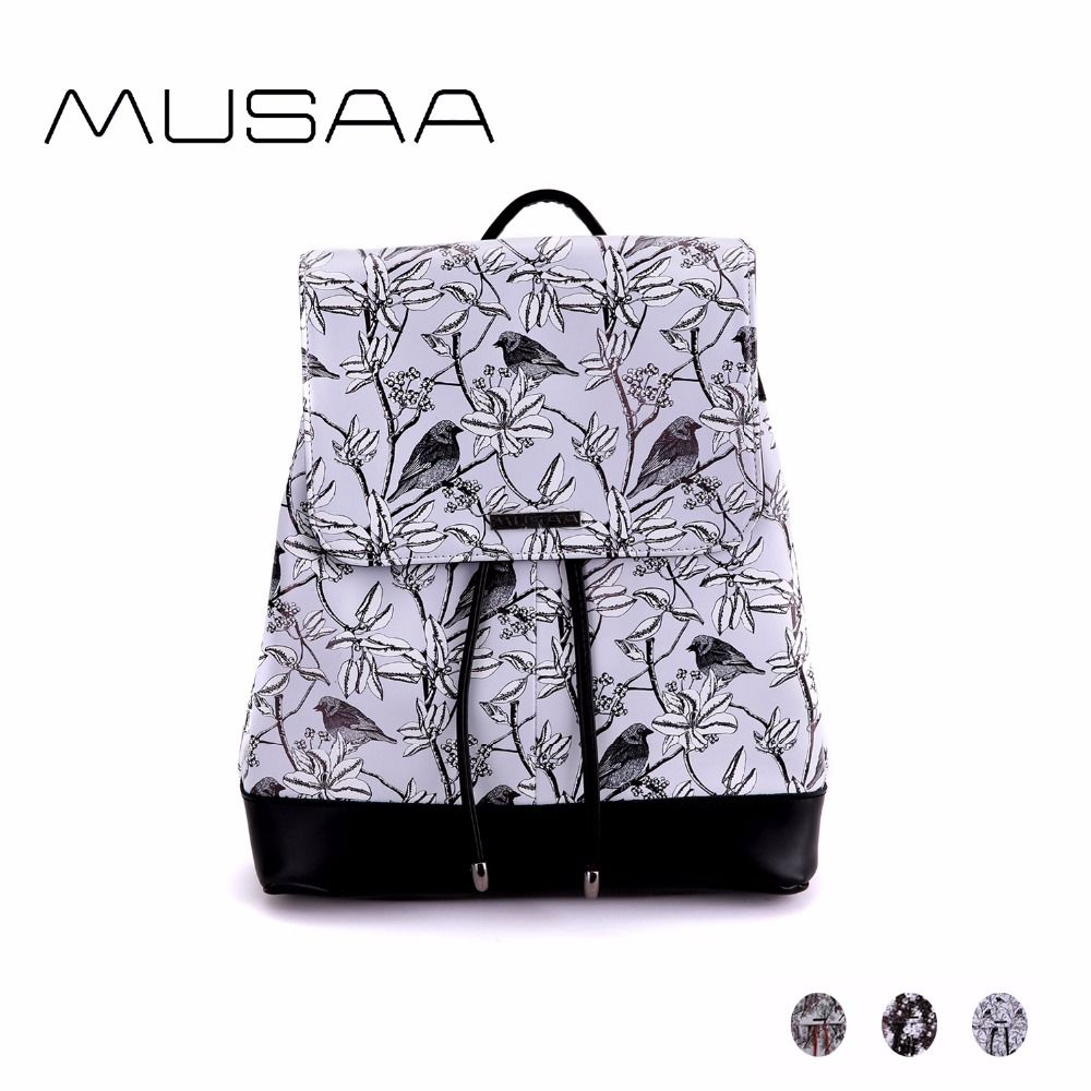 c2c7f9226258 MUSAA Natural Wind Small Printing Backpacks for Teenagers Girls PU Leather  Fashion Concise Fresh Flowers Birds Trees Pattern Bag Price  63.55   FREE  ...