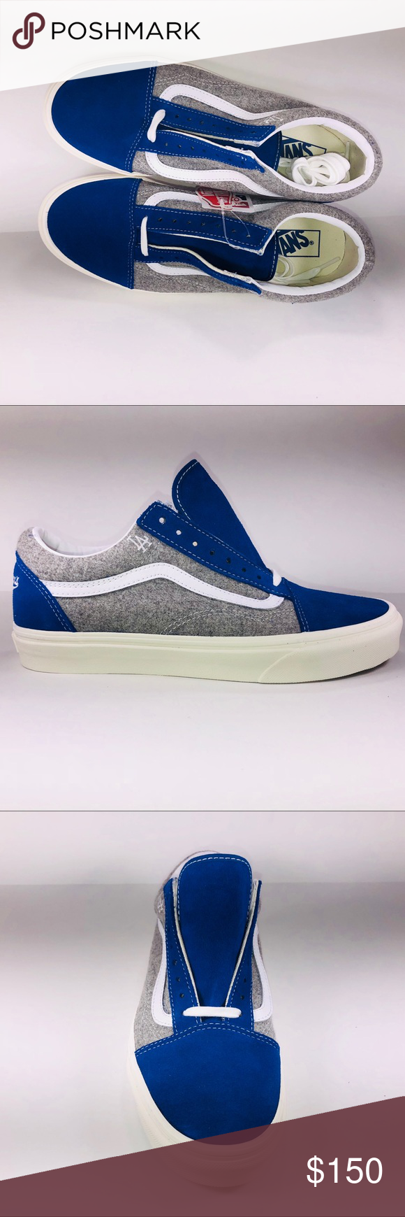 VANS Old Skool MLB Wool Pack LA Dodgers Blue Shoes New With Damaged Box See  Pictures 6a411f779