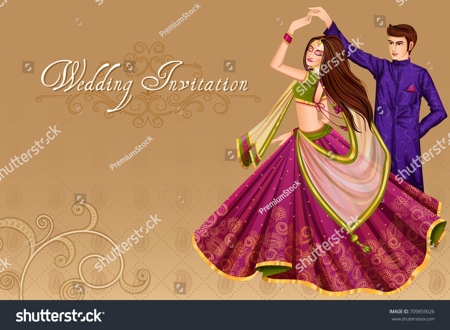 Vector Design Of Indian Couple Dancing In Wedding Sangeet Ceremony Of India In 2020 Traditional Indian Wedding Cards Indian Wedding Couple Wedding Card Design Indian