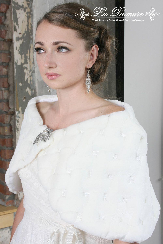 Elegant Faux Fur Shawl Wedding, Wedding Jacket, Wedding Dress ...