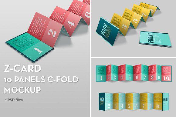 Z-Card Mock-up - 10 Panels C-Fold by carina.reis on @creativemarket