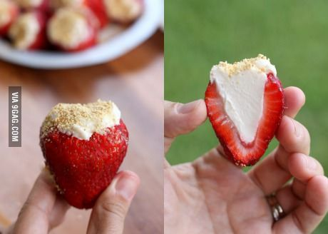 Cheesecake stuffed strawberries. Holy crap.