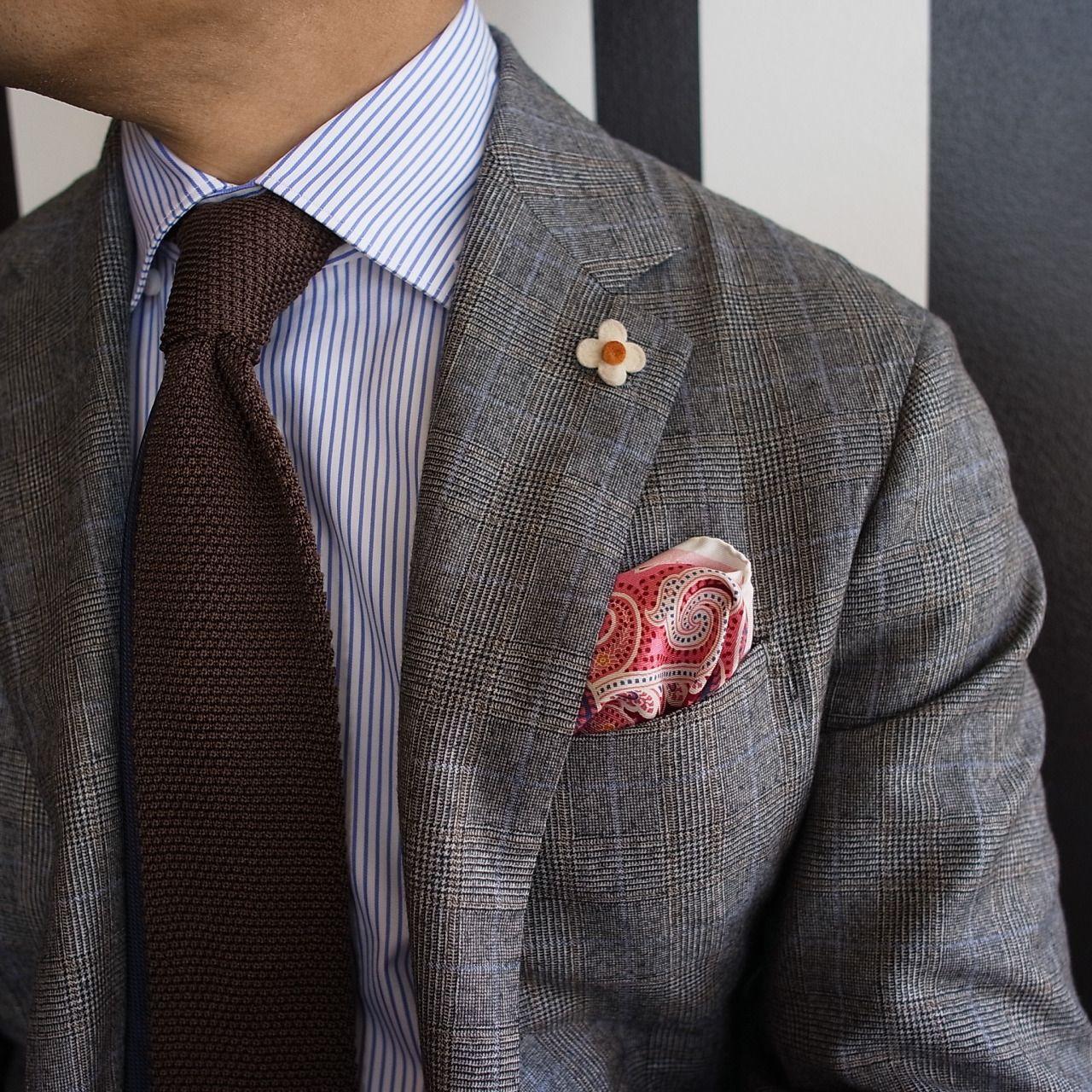 Grey glen plaid jacket, white shirt with light blue pinstripes ...