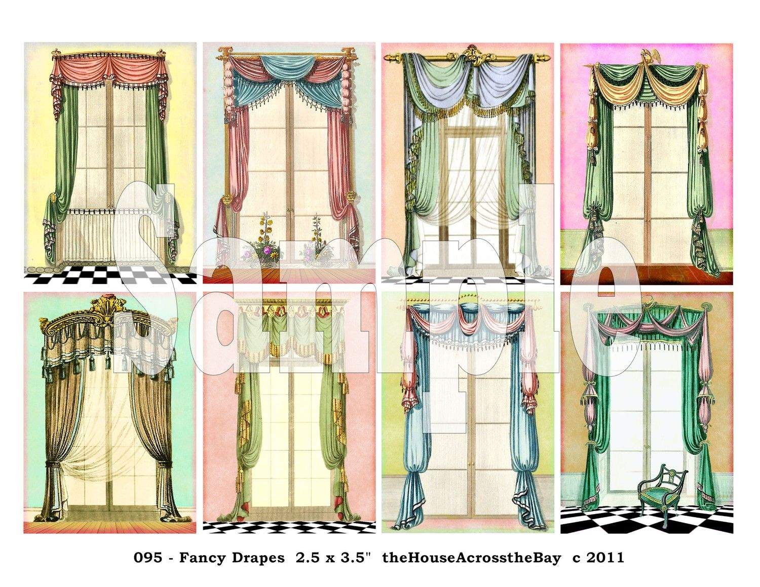 Elegant Fancy Drapes ATC Digital Collage Sheet ACEO Backgrounds Vintage Victorian  Windows Drapery 2.5 X 3.5 Cards