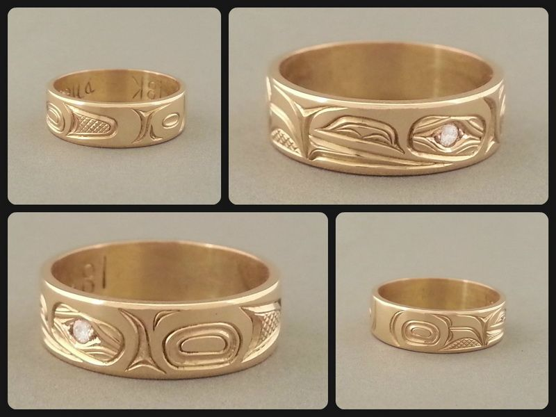 First Nations Raven Wedding Ring 14K Gold Diamond Northwest Art