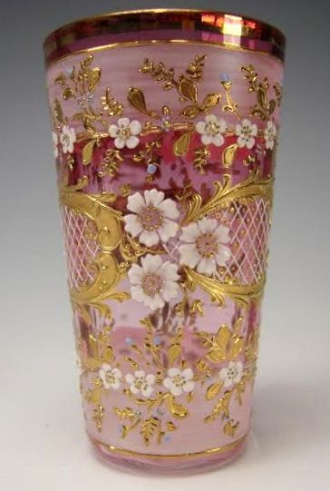 Beautiful richly enamelled, gilt, and hand painted vintage Moser glass tumbler/juice glass