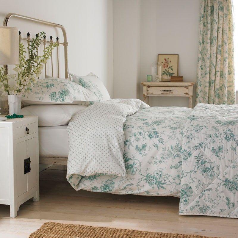 Toile Bedding | Pilemont Aqua Duvet Covers by Sanderson at Bedeck ... : sanderson quilt cover - Adamdwight.com