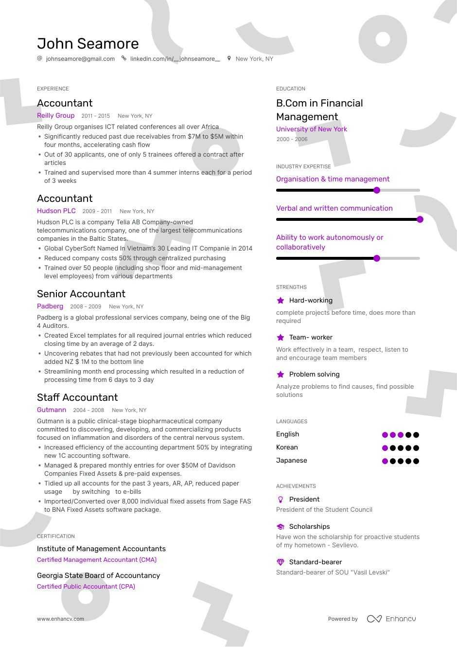 44+ resume accounting cv template in 2020 Resume