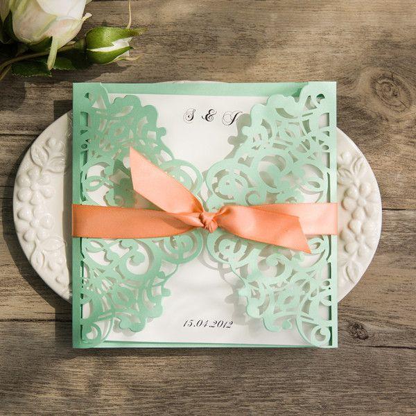 Spring Mint Green And Peach Laser Cut Wedding Invitations EWWS103 As