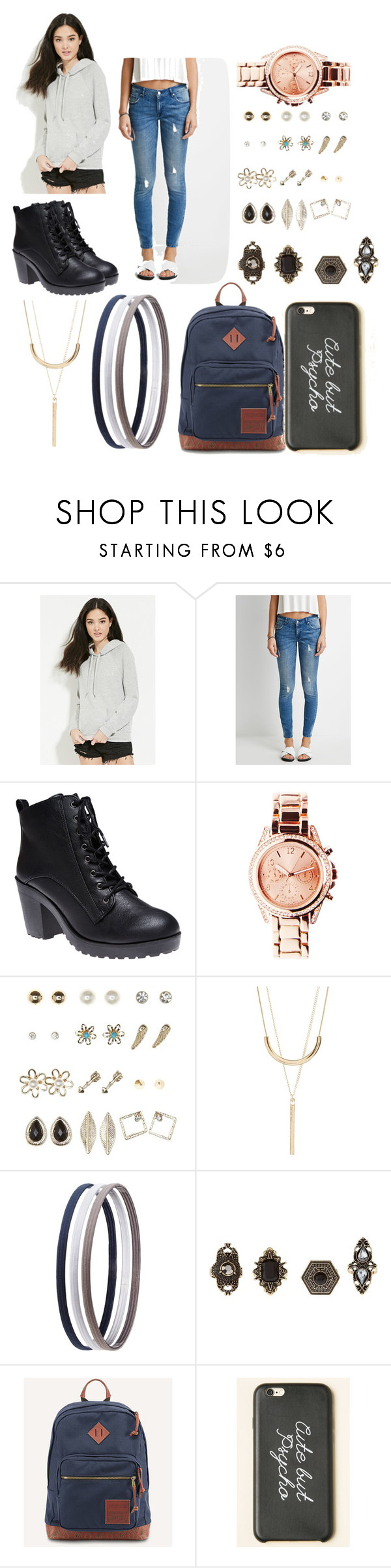 """Untitled #172"" by alliewulf ❤ liked on Polyvore featuring Forever 21, Wet Seal, Charlotte Russe and JanSport"