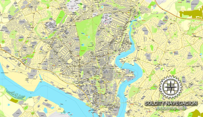 Southampton vector map for printing England UK Great Britain