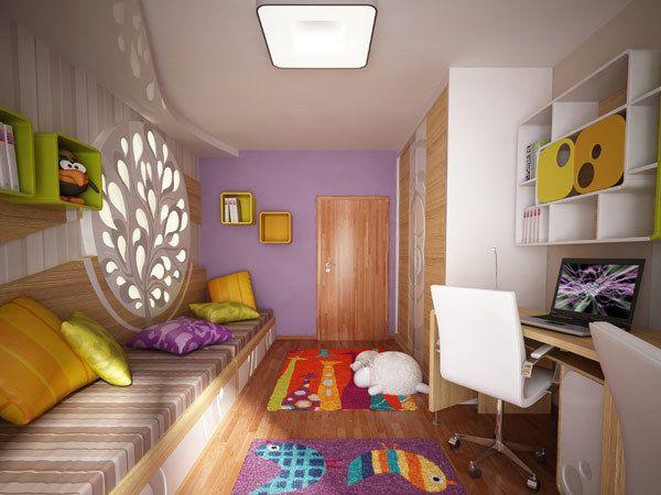 Kinderzimmer lila gelb kisschen schrank wand wei stuhl teppich holz licht interieur design - Licht kinderzimmer ...