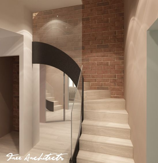 Hallway L shaped staircase with a steel stripe carriage ...