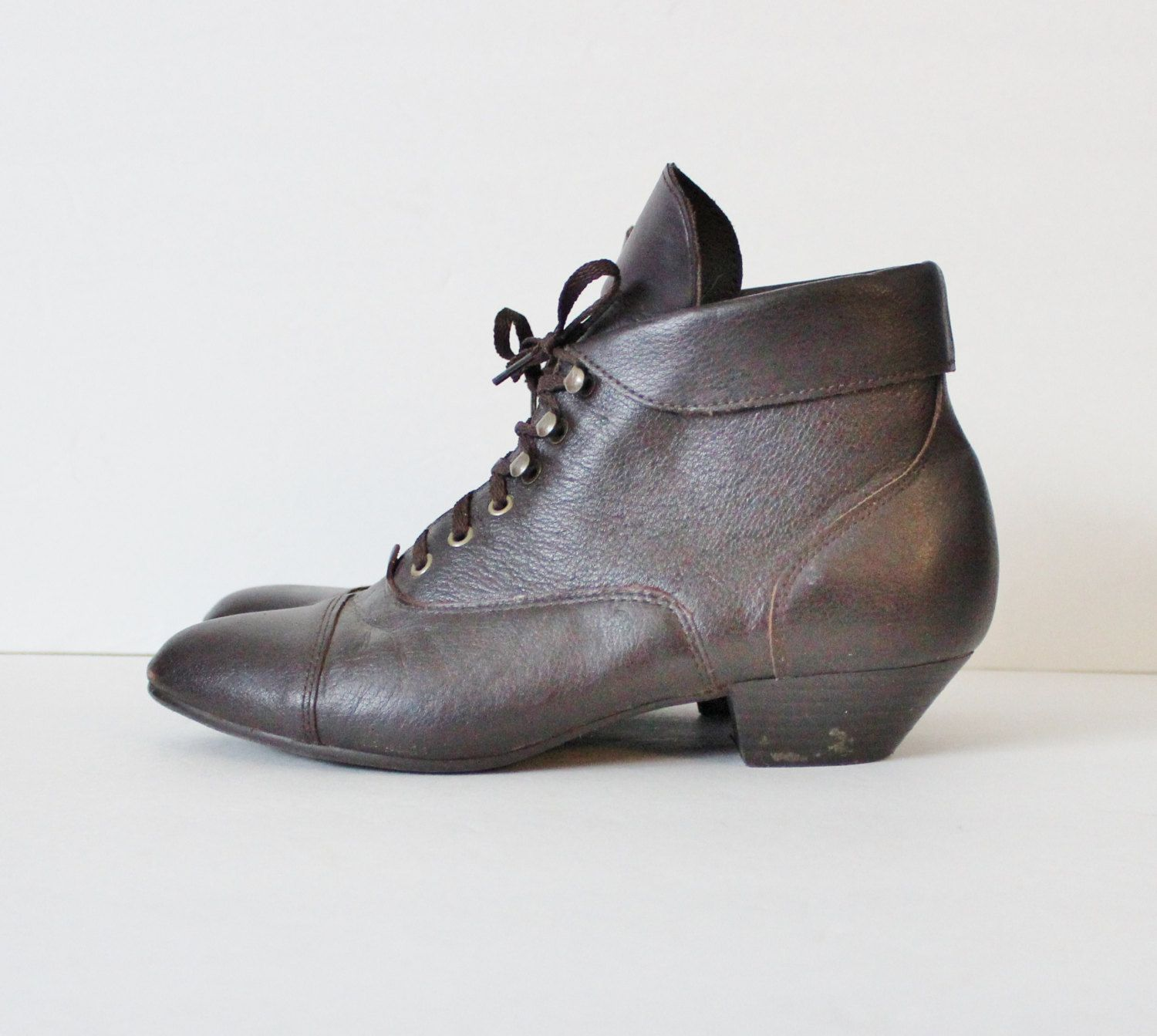 Vintage 80s Ankle Witch Granny Pixie Brown Boots Women 8M